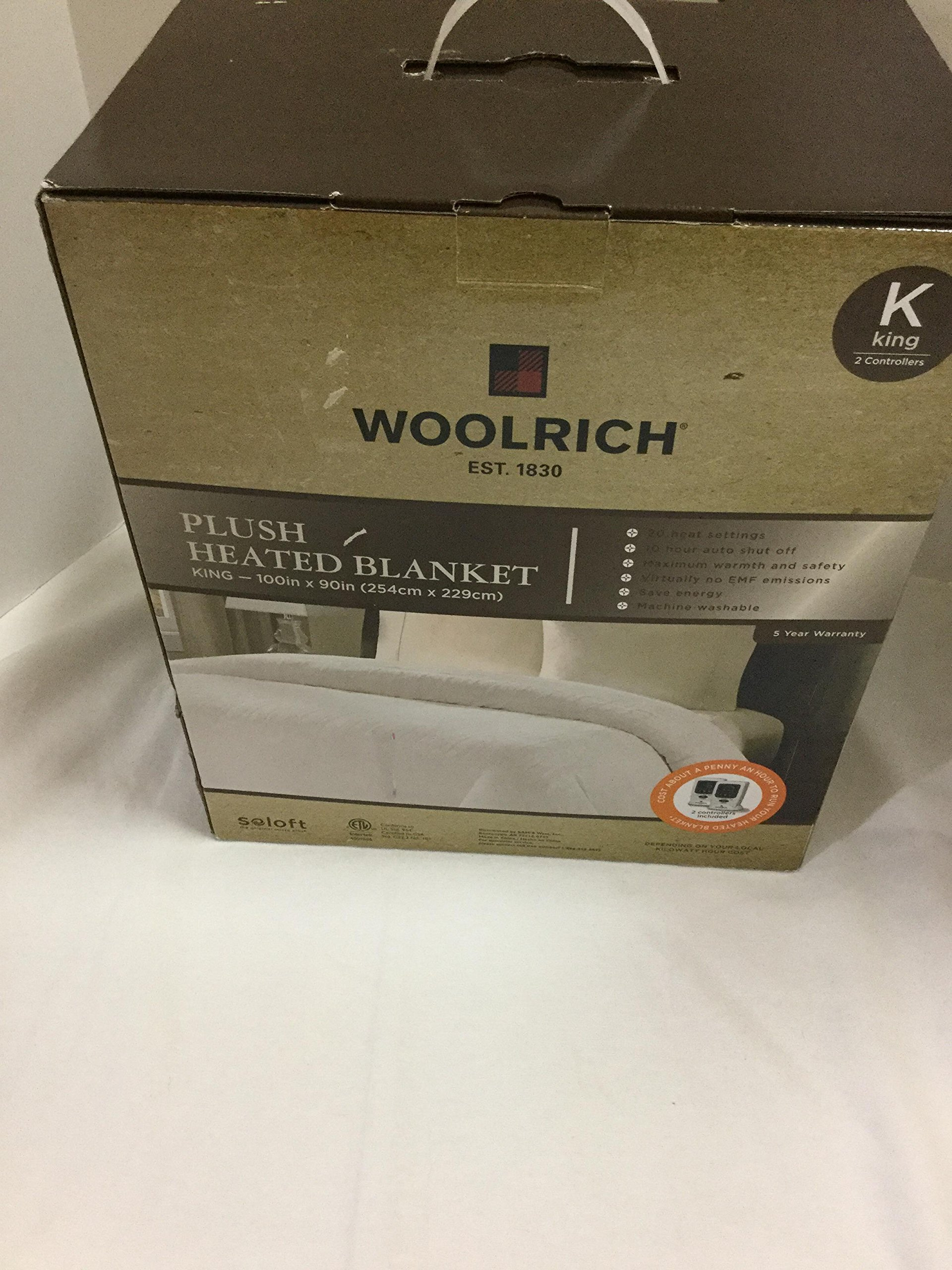 Woolrich Plush Heated Blanket KING Cream / Ivory 2 Controllers