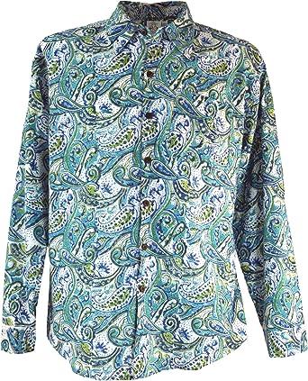 GURU-SHOP, Goa Hippie, Camisa de Hombre, Algodón, Camisas de Hombre
