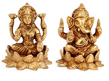 572cd39b79d5 Buy Kartique Brass Goddess lakshmi   Laxmi   Lord Ganesha Idol on ...