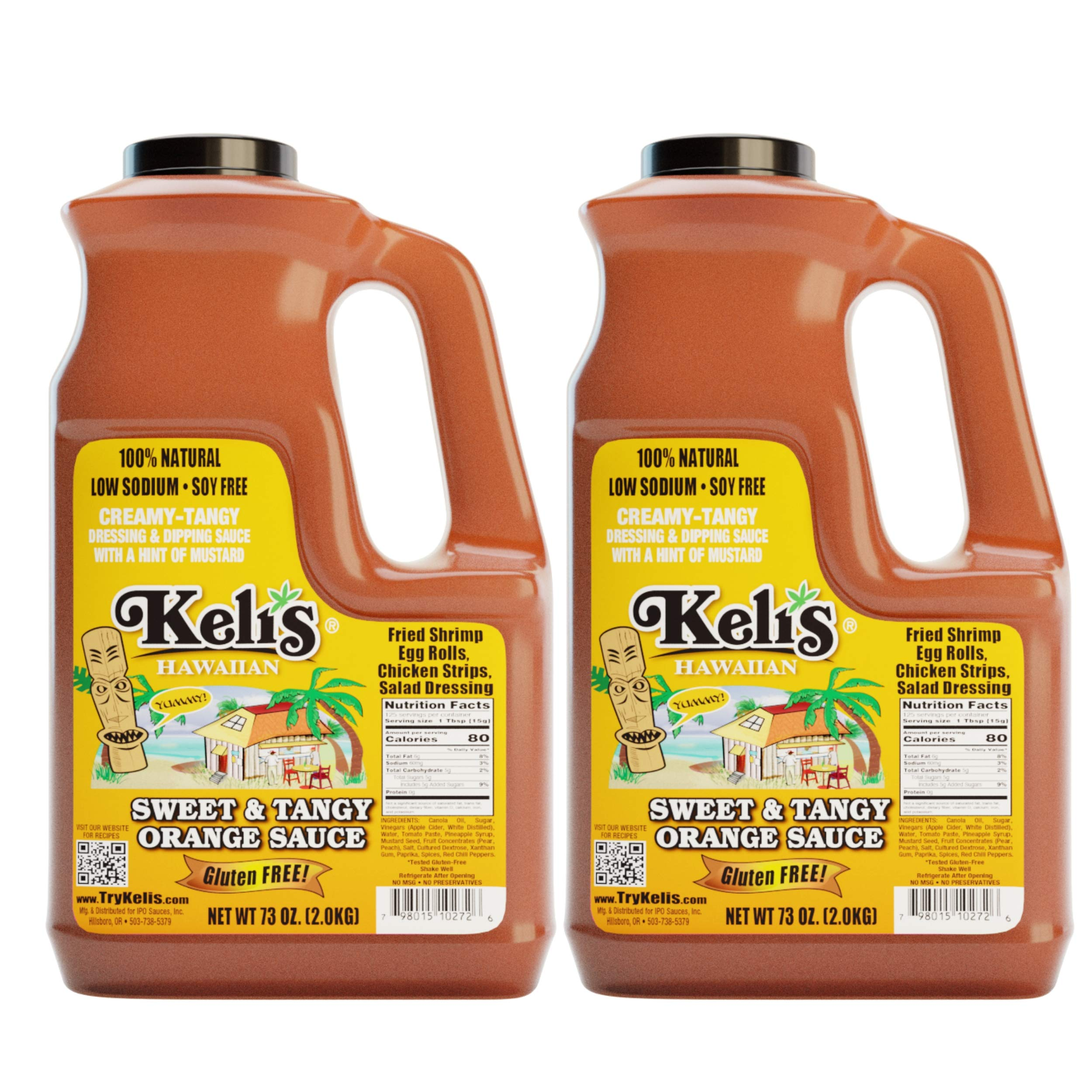 Keli's Sweet & Tangy Orange Sauce. Vegan Polynesian Sweet & Sour, Soy Free Creamy Salad Dressing, Glazing and Dipping Sauce with a hint of Mustard. All Natural, Gluten Free & No Preservatives. (72oz) by Keli's
