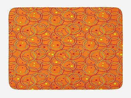 amazon com lunarable burnt orange bath mat abstract circle