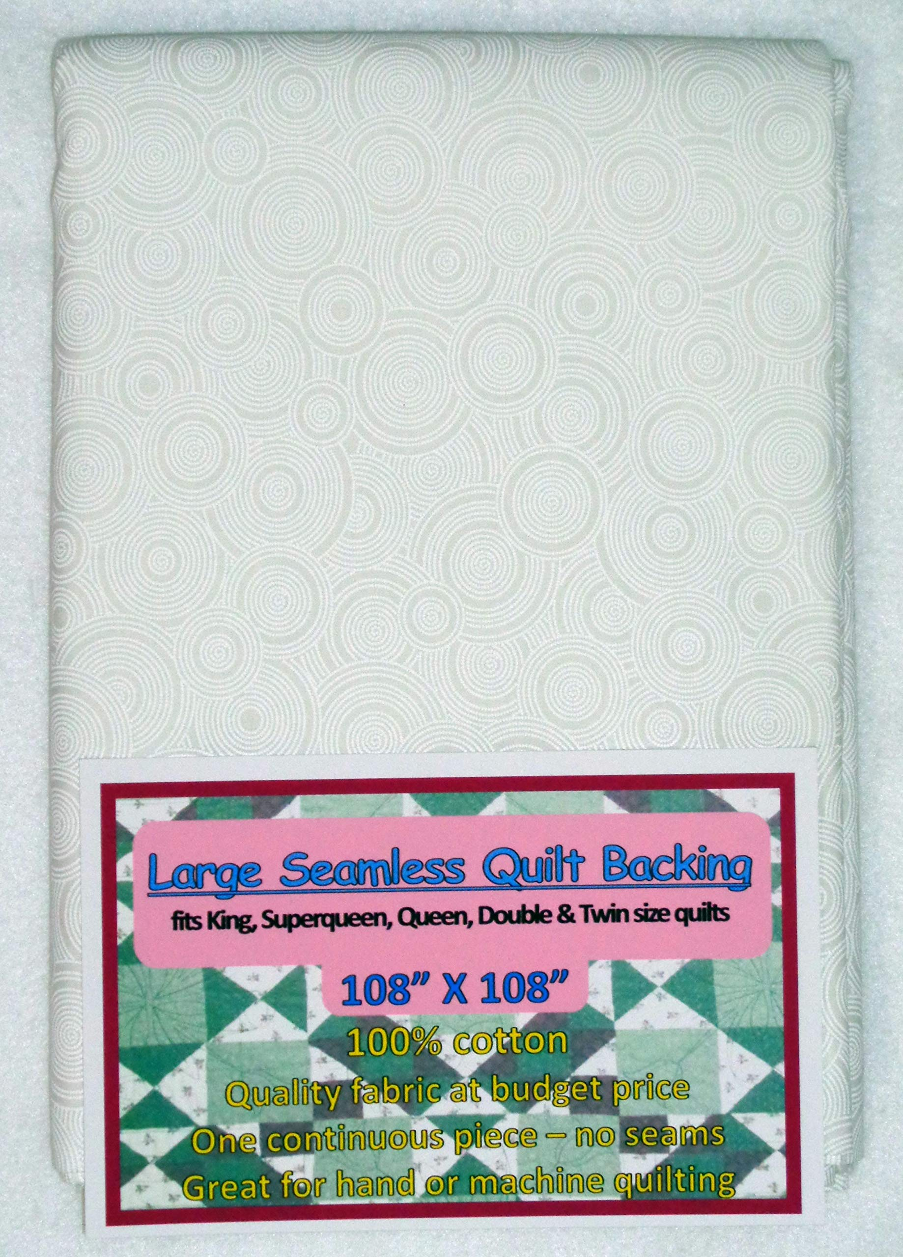 Quilt Backing, Large, Seamless, C48494-A03, White Rings by Quilt Backing - Choice