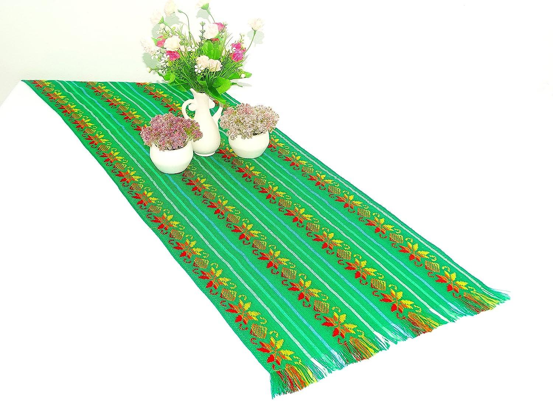 アステカグリーンMexicanテーブルランナー、テーブルクロス、メキシコ結婚式、死者の日パーティー装飾、カラフルなフィエスタDecortion、14 x 72 cm   B01LZXYESI