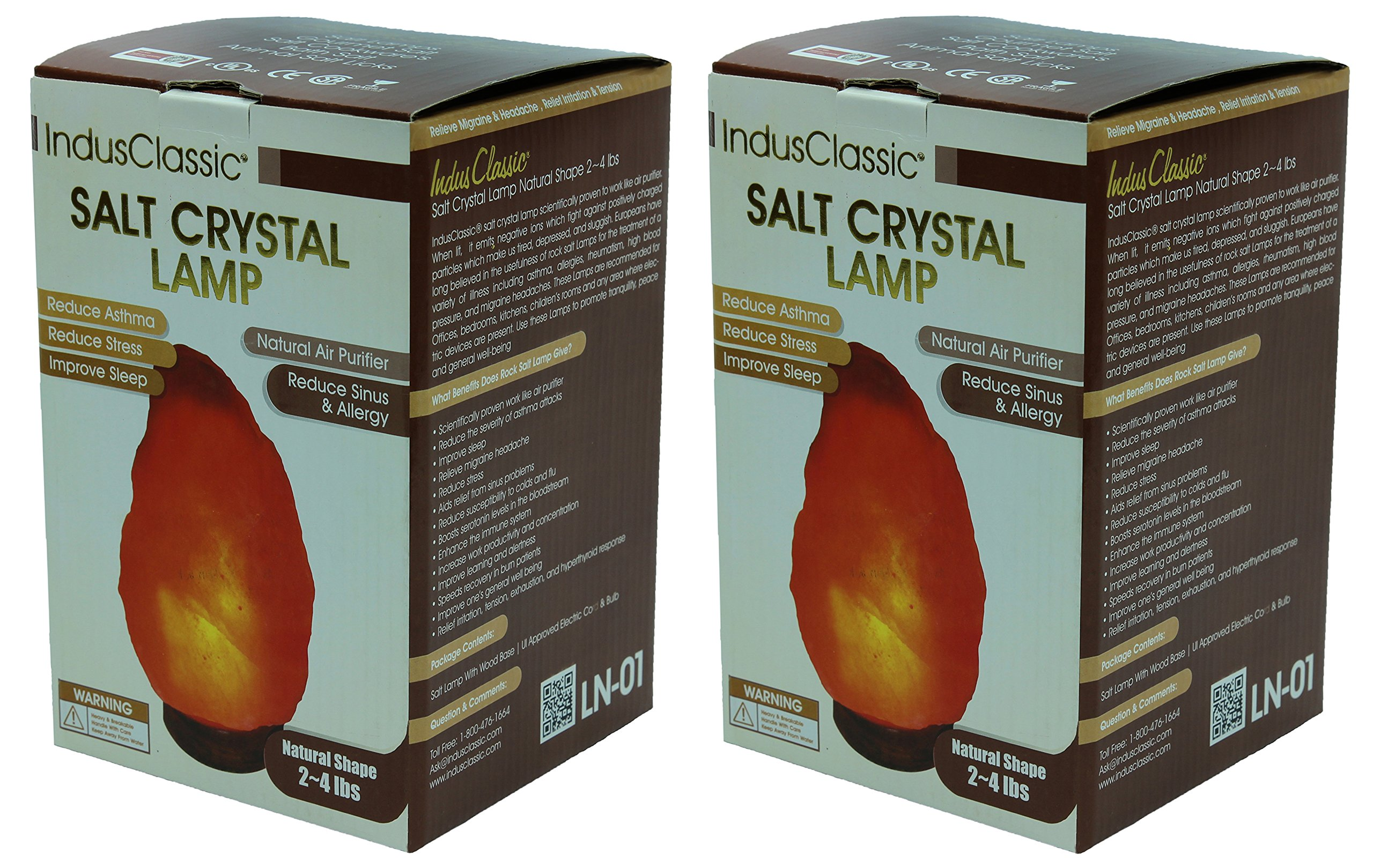 Indusclassic LN-1 Pack Of 2 Natural Himalayan Crystal Rock Salt Lamp Ionizer Air Purifier 2~4 lbs / UL Listed Cord and Dimmer Control Switch, Exceptional Quality Packaging