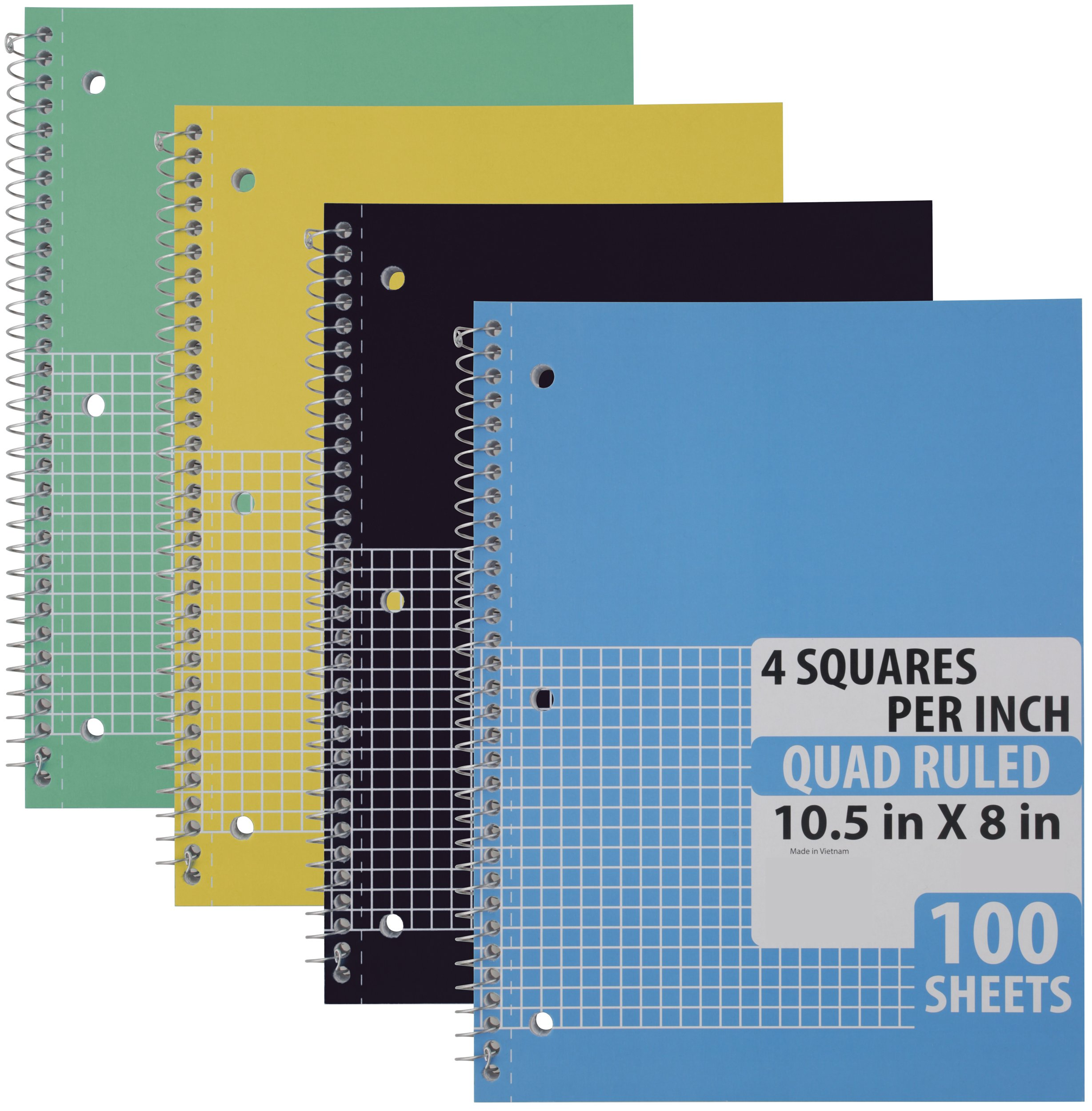 Emraw Quad Ruled Notebook Spiral with 100 Sheets White Paper - Set Includes: Blue, Black, Yellow, Green Covers (4 Pack) by Emraw