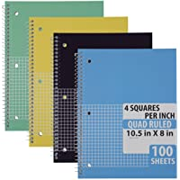 Emraw Quad Ruled Notebook Spiral with 100 Sheets White Paper - Set Includes: Blue...