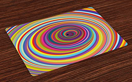 0e89bea8e806 Lunarable Rainbow Place Mats Set of 4, Rainbow Colored Vortex Hypnotic  Effect Optical Illusion Psychedelic