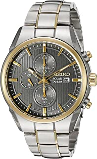 Seiko Mens SSC392 Titanium Solar Chrono Analog Display Japanese Quartz Two Tone Watch