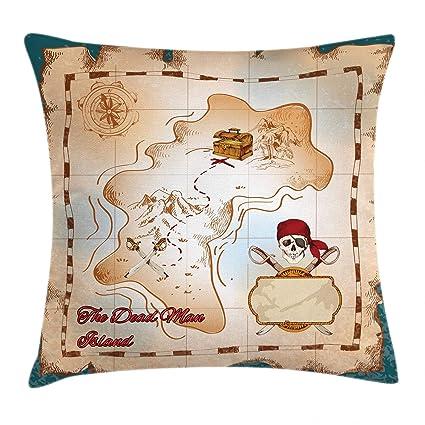 Isla mapa manta almohada Funda de cojín por Ambesonne, dibujos animados mapa del tesoro pirata