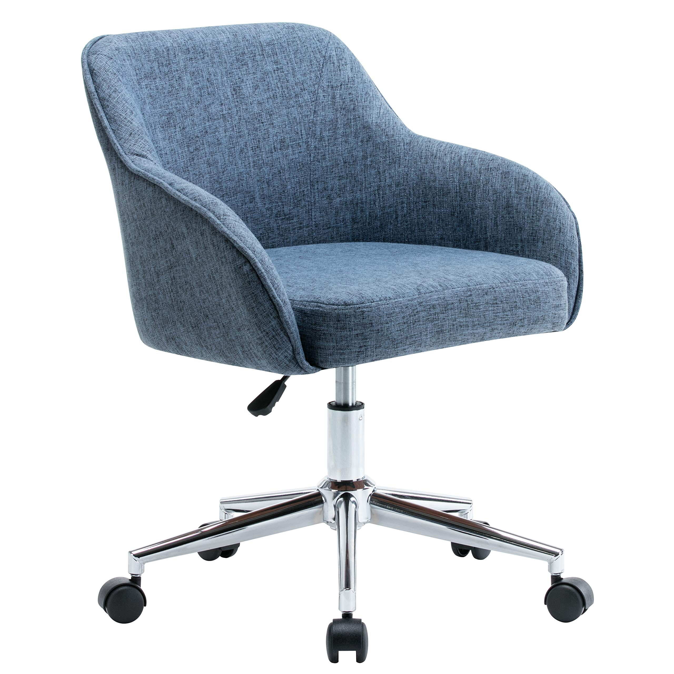 Porthos Home TFC046A BLU Adjustable Height Upholstered Contemporary Swivel Desk Chair with Optional Caster Wheels, Easy Assembly, One Size, Blue by Porthos Home