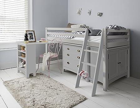 Mueble que incluye cama, armario, cómoda y escritorio.,Disponible en color blanco o natural; este ar