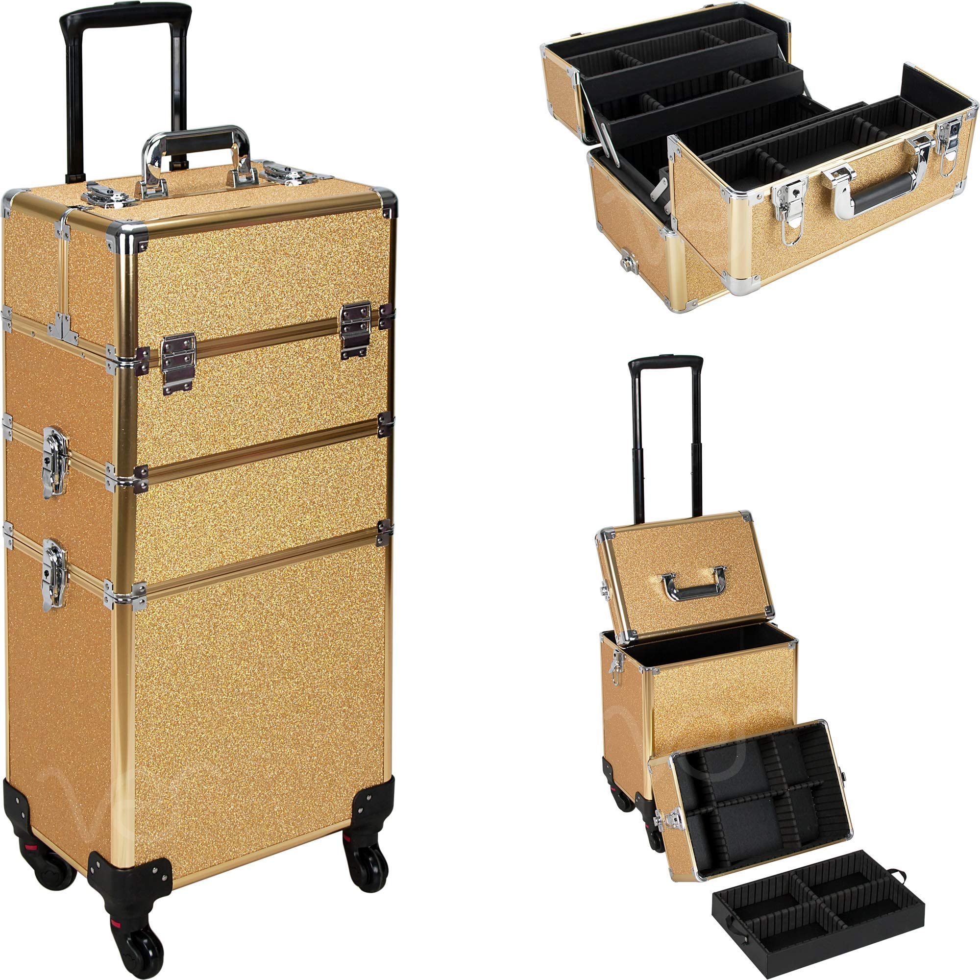 Pro Rolling Makeup Case with Wheels, Extendable Trays, Removable and Adjustable Dividers (Gold Glitter)