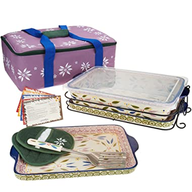 Temp-tations 13 x9  4 Quart Baker, Tote, 2 Stoneware Trays(Lid-It), Insulated Tote, Plastic Cover, Utensil, 2 Mitts (Old World Confetti)