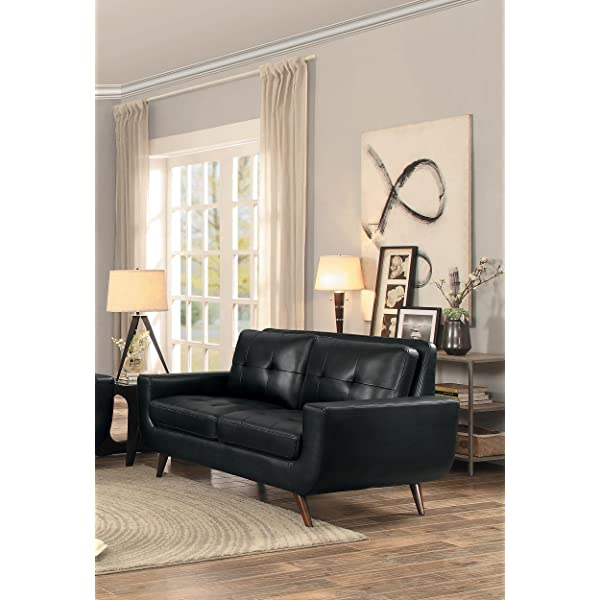 "Homelegance Deryn 68"" Loveseat with Tufted Back, Black Leather Gel Match"