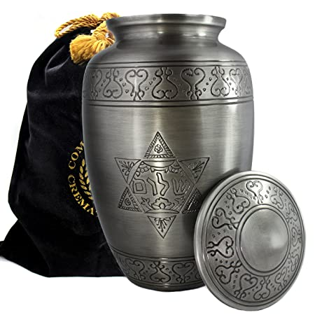 Jewish Star of David Shalom Cremation Urns for Human Ashes Adult for Funeral, Burial, Columbarium or Home, Cremation Urns for Human Ashes Adult 200 Cubic Inches, Urns for Ashes, Adult Large