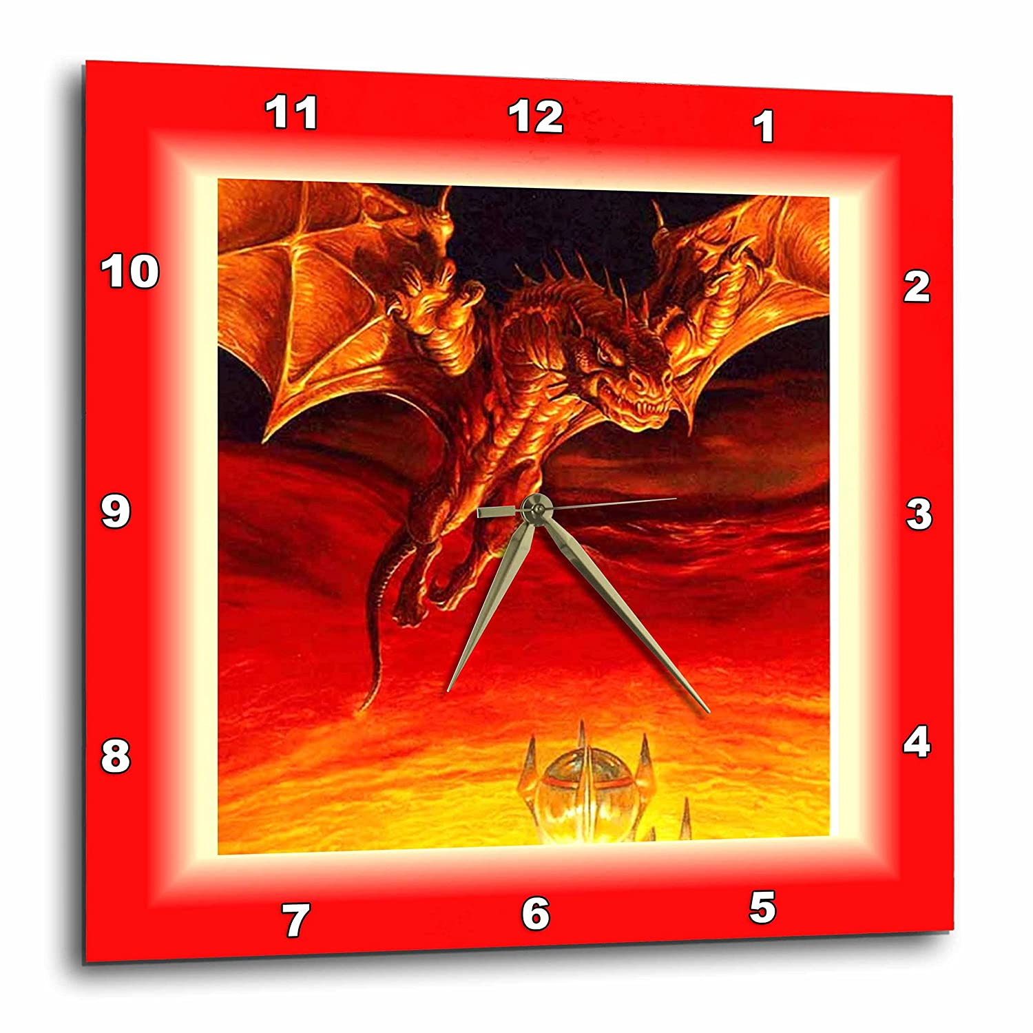 10 by 10-Inch 3dRose dpp/_62080/_1 Scary Red Dragon Wall Clock