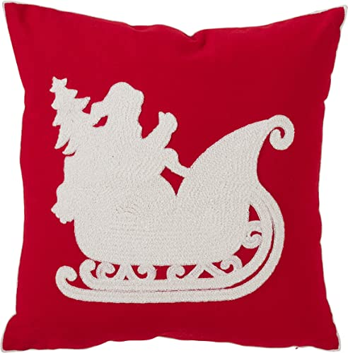 SARO LIFESTYLE Bonnes F tes Collection Cotton and Poly Blend Santa s Sleigh Accent Pillow with Down Filling, 18
