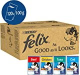 Felix As Good As It Looks Cat Food, Mixed Fish and Meat, 120 x 100 g, 120 Pouches