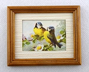 Melody Jane Dolls Houses House Miniature Accessory Blue Tit Birds Picture Painting in Walnut Frame