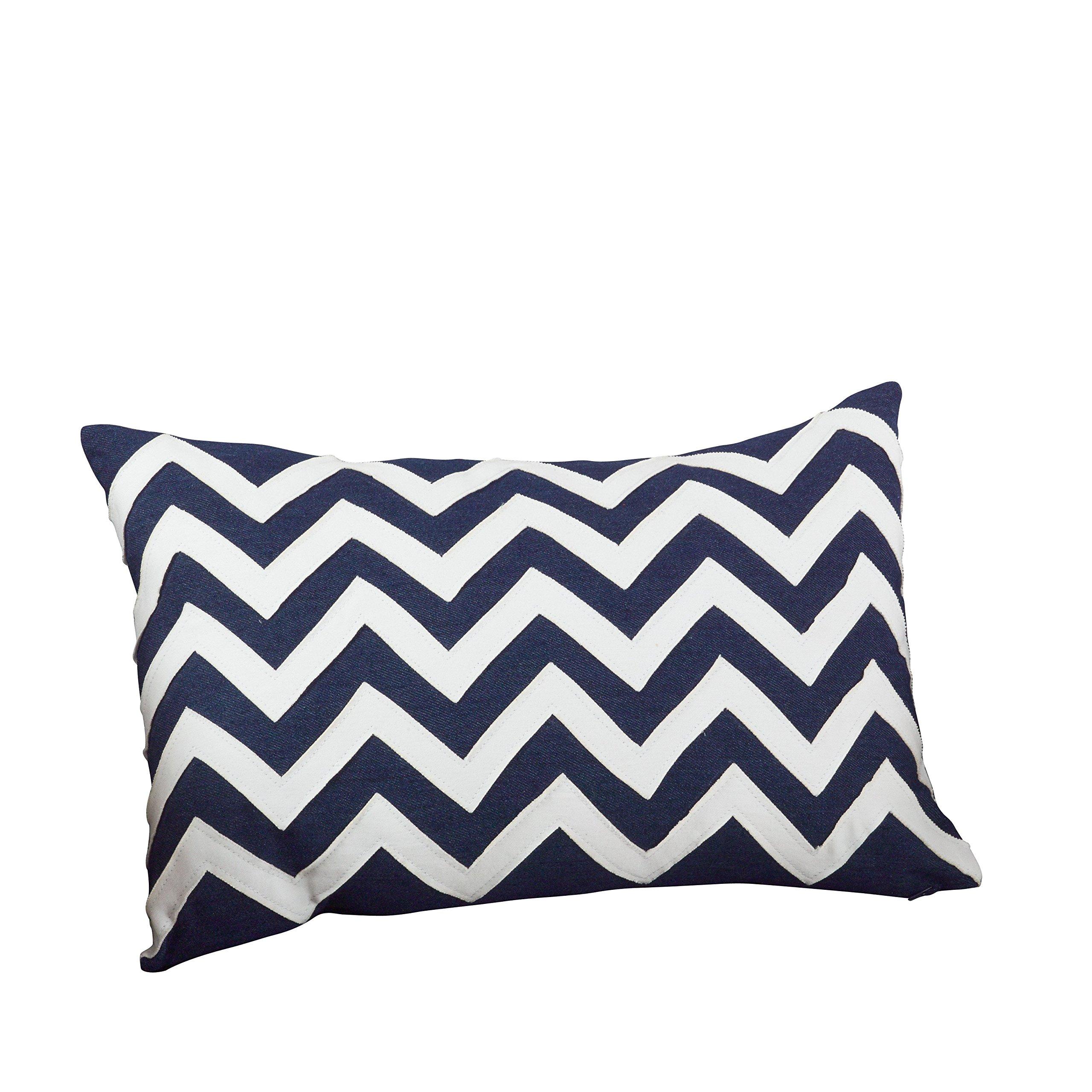 SARO LIFESTYLE 066.NB1320B Chevron Down Filled Throw Pillow, Navy Blue, 13''x20''