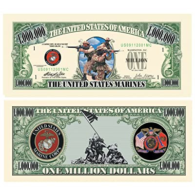 US MARINE CORPS COMMEMORATIVE MILLION DOLLAR BILL (w/protector): Toys & Games