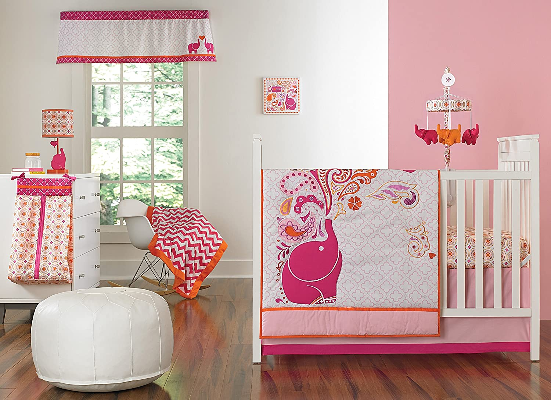 Amazon.com : Happy Chic Baby Jonathan Adler Party Elephant 4 Piece Crib  Bedding Set, Pink/Orange/White : Baby