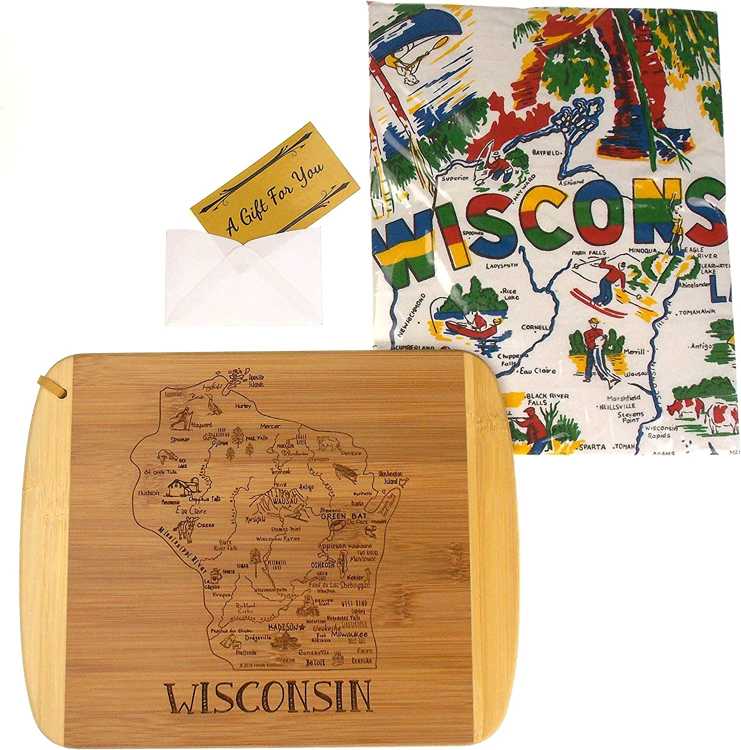 A Slice Of Wisconsin State Bamboo Serving & Cutting Board Bundled with Wisconsin Kitchen Towel
