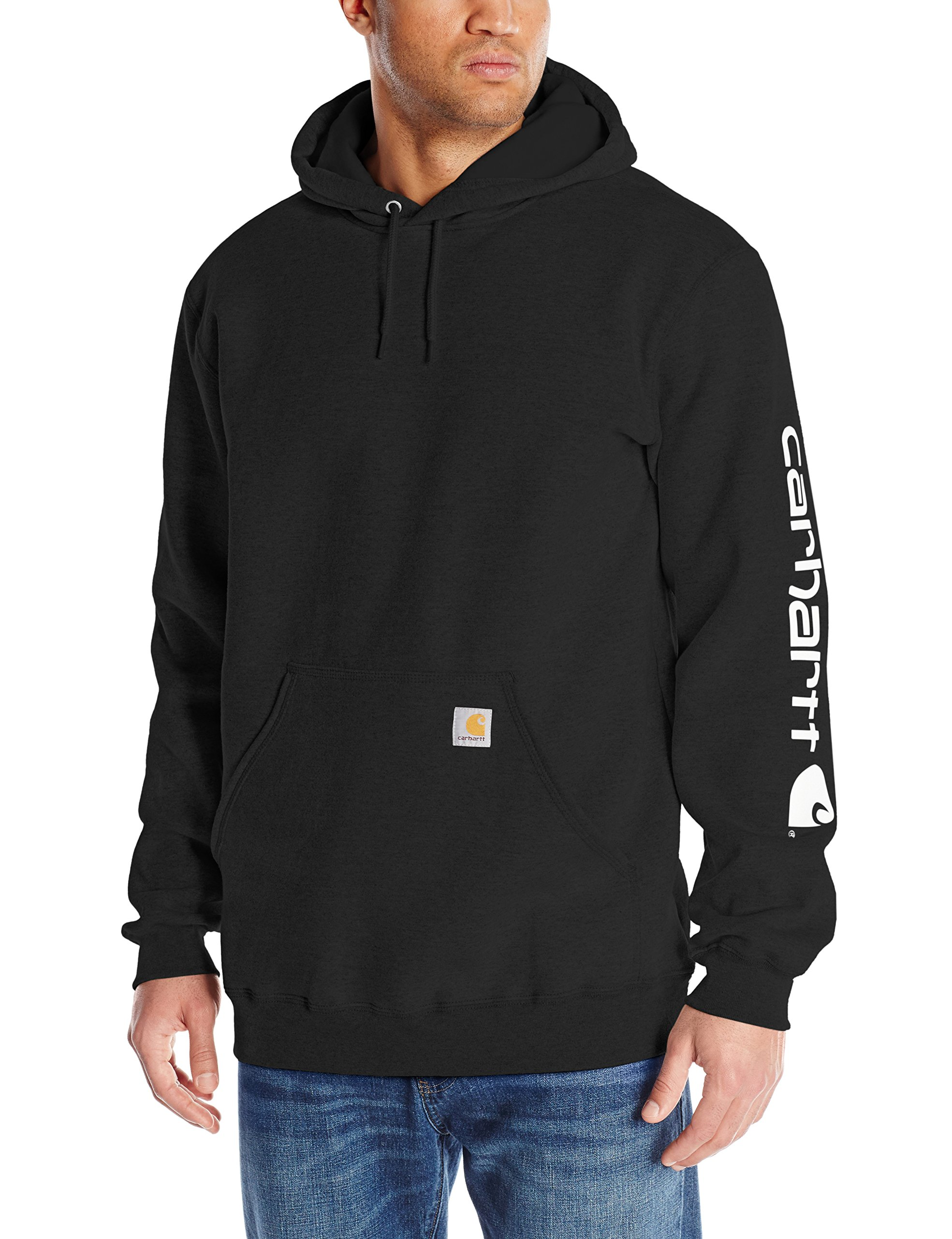 Carhartt Men's Midweight Sleeve Logo Hooded Sweatshirt (Regular and Big & Tall Sizes), Black, X-Large Tall by Carhartt