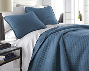 Southshore Fine Linens - Vilano Springs Oversized 3 Piece Quilt Set, Full/Queen, Coronet Blue