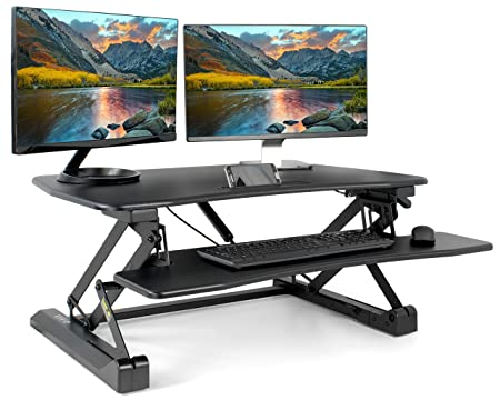 VIVO Black Height Adjustable Standing Desk Single Touch Gas Spring – 36 Tabletop Riser Sit Stand Station DESK-V001A