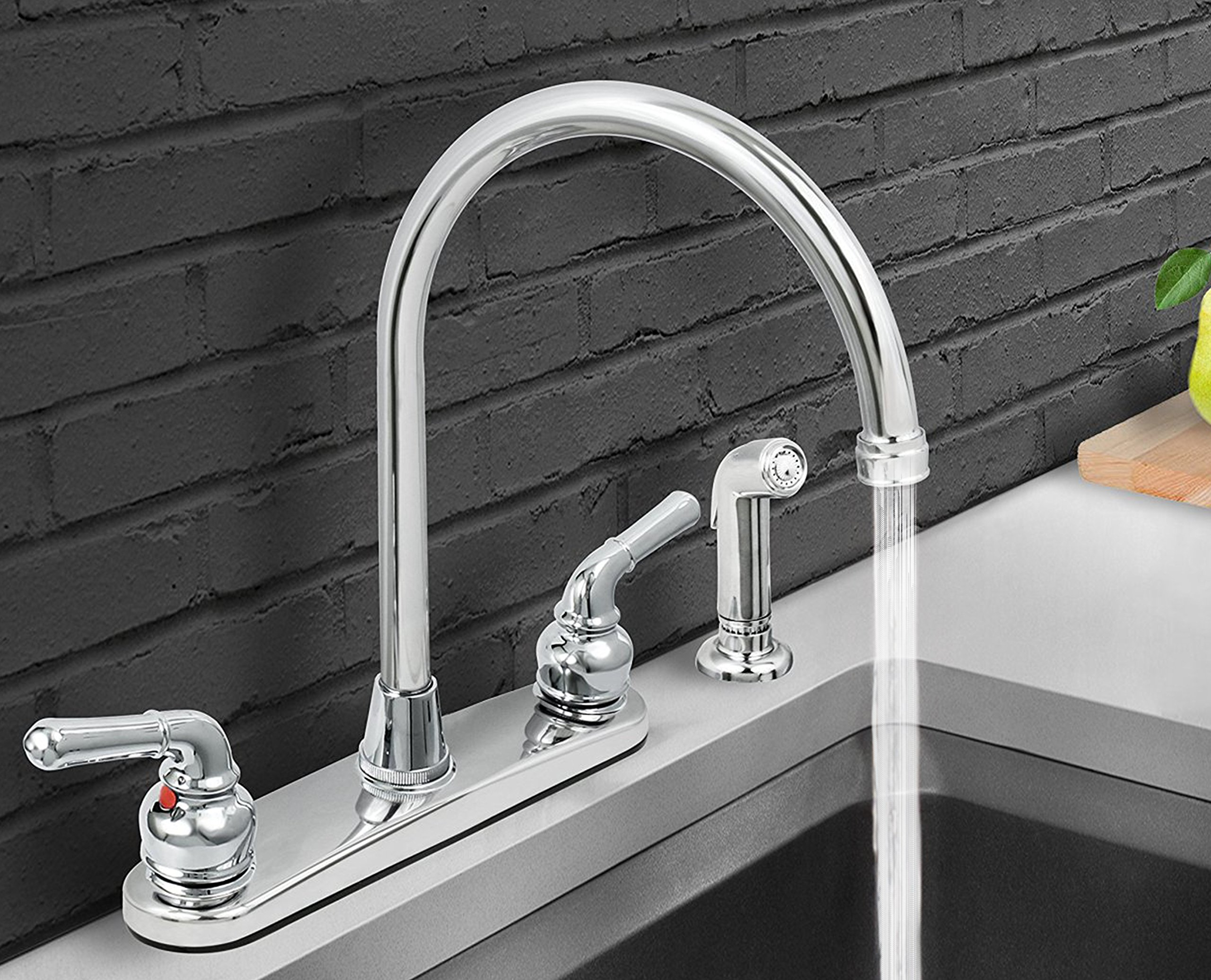 Everflow 17188 Kitchen Faucet with Spray, High Arc Swivel Spout ...