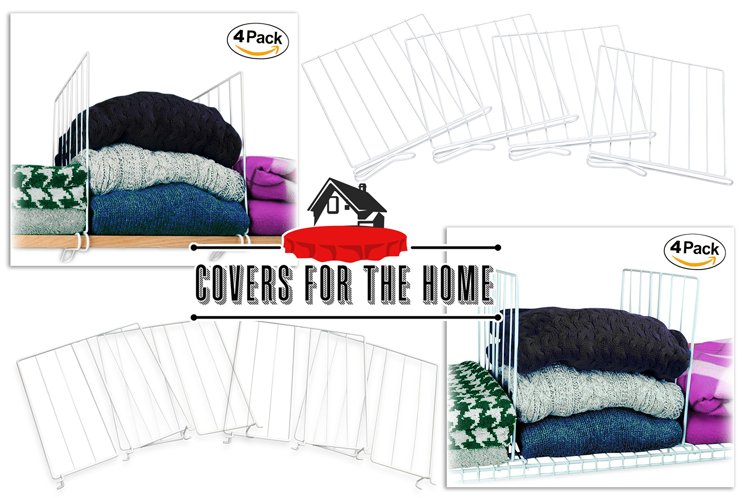 Covers For The Home Sturdy Wire Shelf Dividers - for Wired Shelves (4 pcs) by Covers For The Home