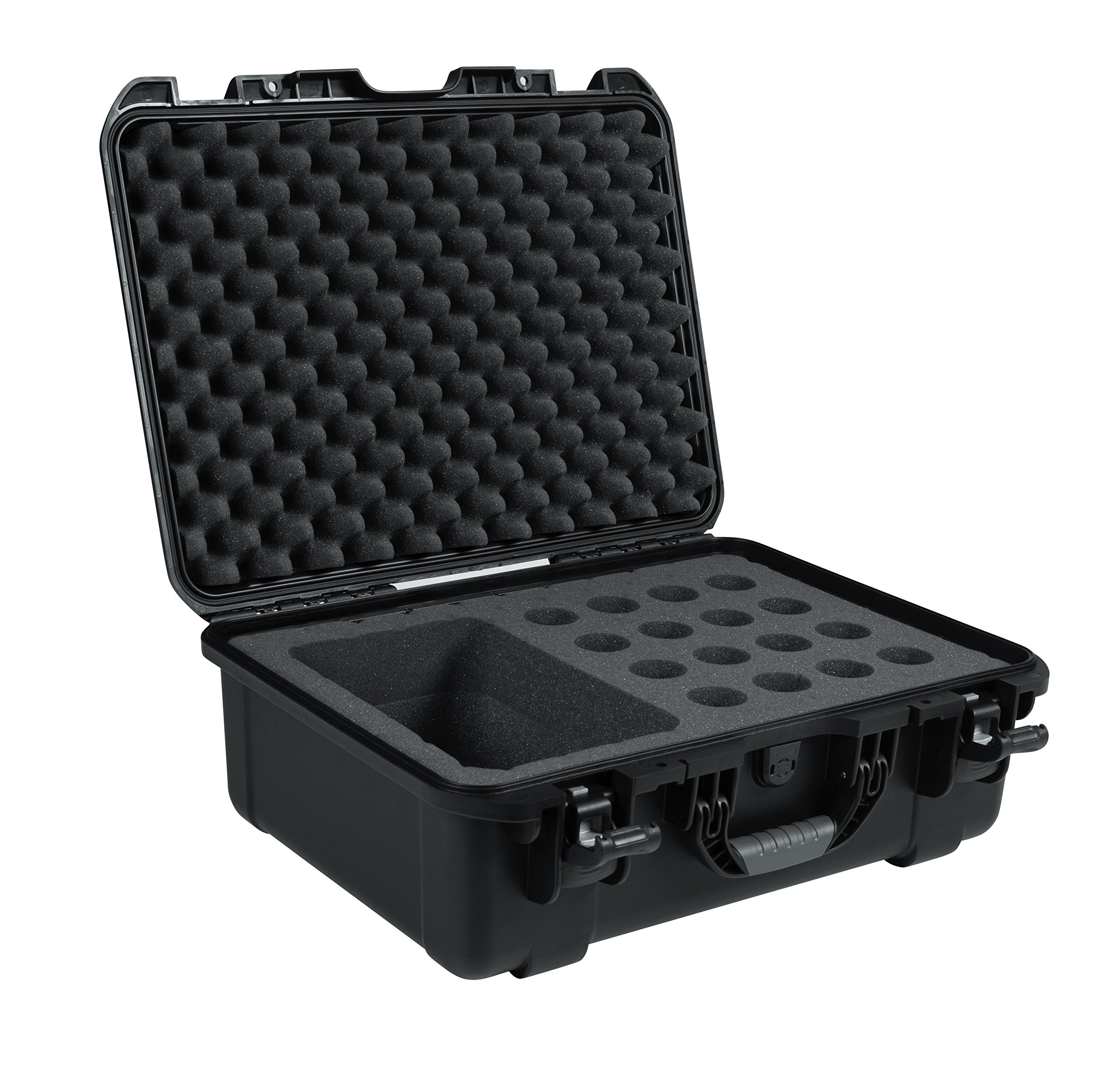 Gator Cases Titan Series Water Proof Injection Molded Microphone Case; Fits up to 16 Wired Mics and Accessories (GM-16-MIC-WP) by Gator