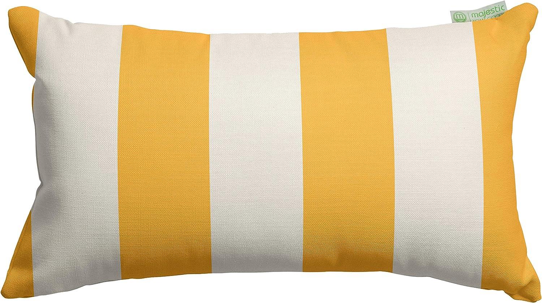 Majestic Home Goods Yellow Vertical Stripe Indoor / Outdoor Small Throw Pillow 20