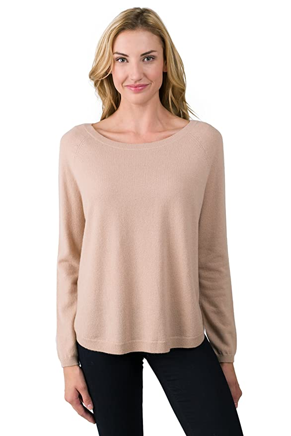 100% Cashmere Oversized Long Sleeve Raglan Boatneck Sweater