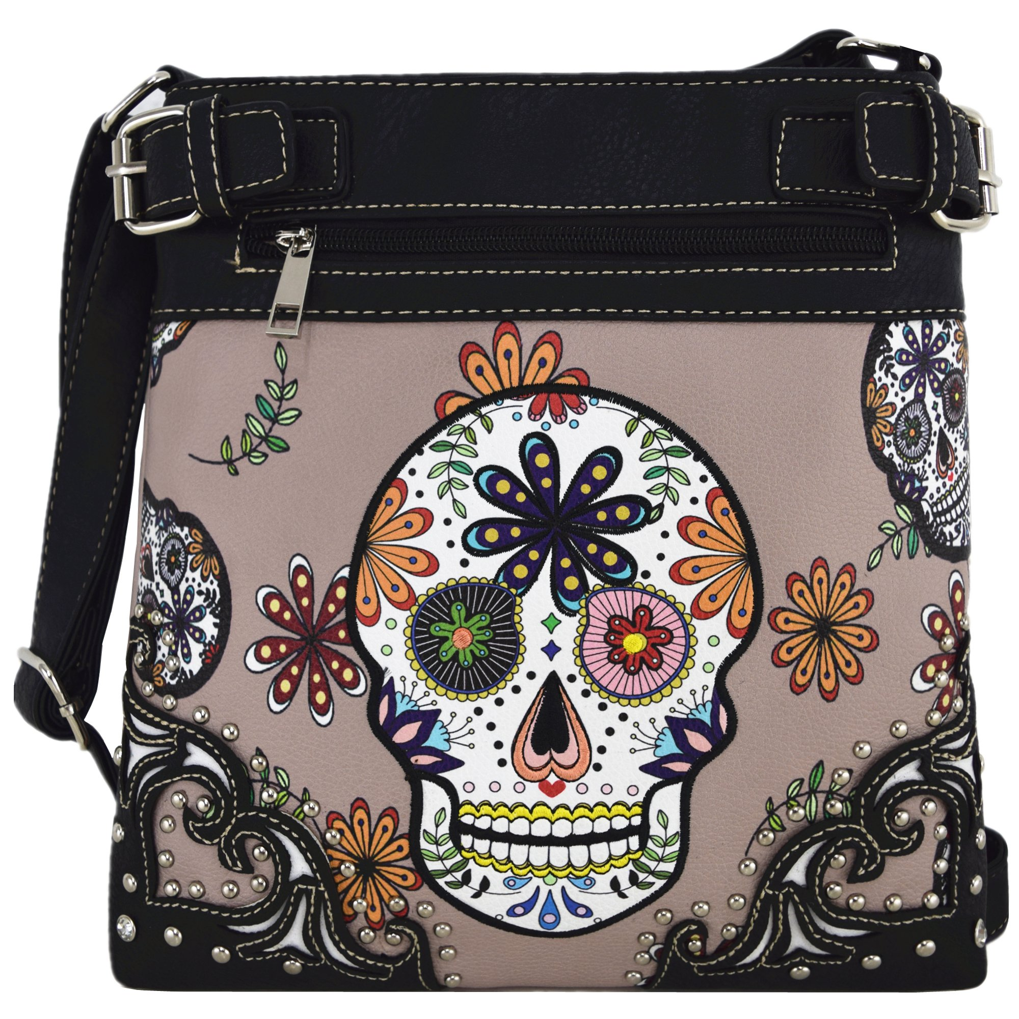 Sugar Skull Day of the Dead Cross Body Handbags Concealed Carry Purses Country Women Single Shoulder Bags (Gray)