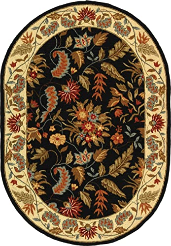 Safavieh Chelsea Collection HK141B Hand-Hooked Black Premium Wool Oval Area Rug 7'6″ x 9'6″ Oval