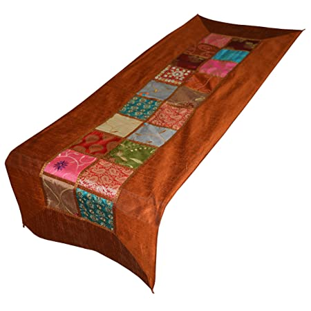 DronaIndia Brocade Silk Handmade Indian Table Runner With Patch Work