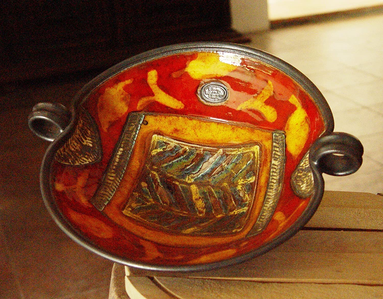 Pottery Fruit Bowl with Hand Painted Decoration. Wheel Thrown Pottery Bowl