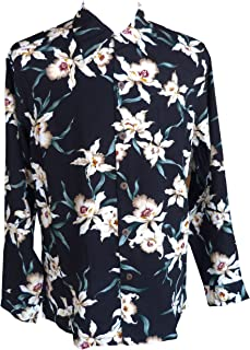 product image for Paradise Found Mens Star Orchid Kamehameha Style Long Sleeve Shirt Black 4X