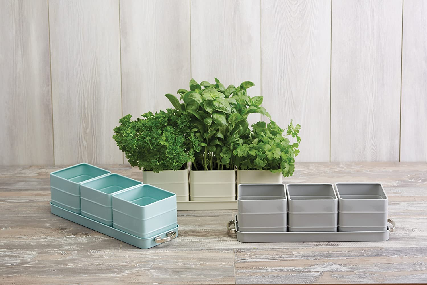 39 X 12 X 10 Cm Kitchen Craft Living Nostalgia Indoor Metal Herb Pots And Tray Set Antique Cream Patio Lawn Garden Window Boxes