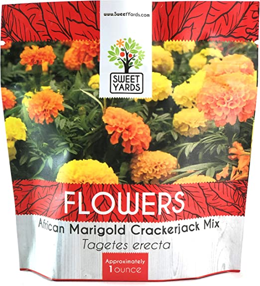 Cracker Jack African Marigold Mix Non-GMO USA Seller Fast Shipping 1 Gram 200