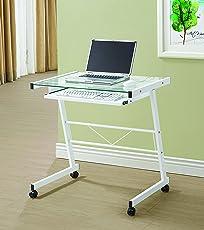 Coaster Fine Furniture 800817 Escritorio para Oficina de Metal y Vidrio Templado, Color Blanco