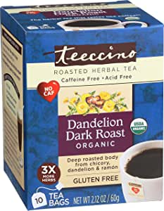 Teeccino Dandelion Dark Roast Flavoured Herbal Coffee, 10 Count