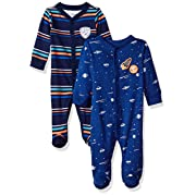 Carter's Baby Boys' 2-Pack Cotton Sleep and Play, Blue Stripe/Space, Newborn
