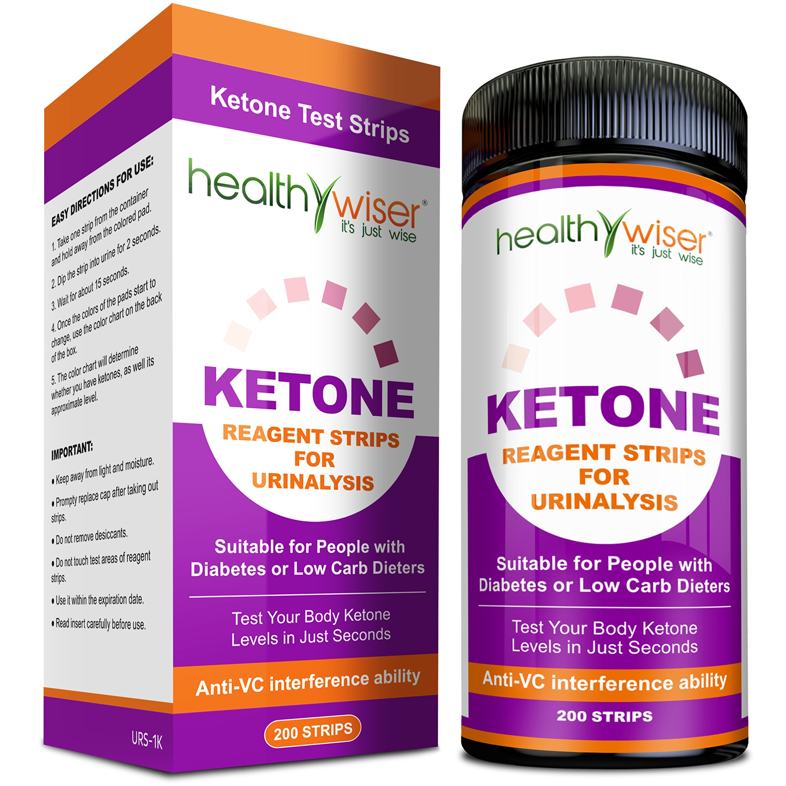 Ketone Strips 200ct - Great for Diabetics & Ketosis, Professional Grade Ketone Urine Test Strips for Use in Atkins Diet, Weightloss, Low Carb, Ketogenic, and Paleo Diet Accurate Urinalysis Test Strips