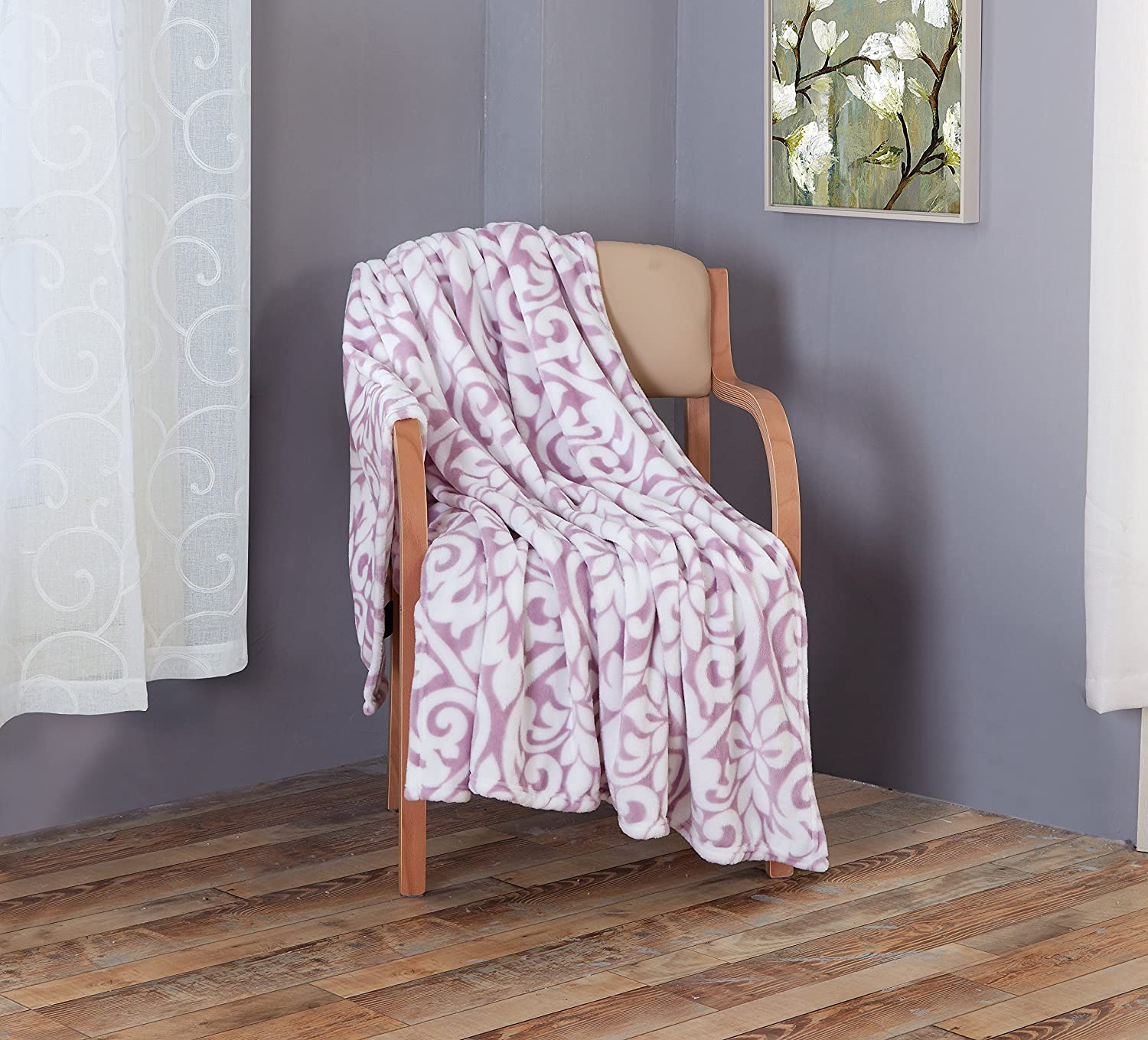 RT Designers Collection Kenton Printed Flannel Throw 50 x 60 Orchid//Purple