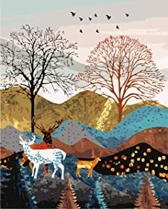 """DIY Paint by Numbers Kit for Adults - Deers in Mountain 