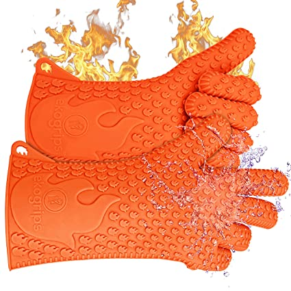Ekogrips Max Heat Silicone BBQ Gloves - Highest Rated Heat Resistant Cooking Gloves Or Grill Gloves - Protect Your Hands And Avoid Accidents - Insulated Waterproof Five-Fingered Grip - 3 SIZES!