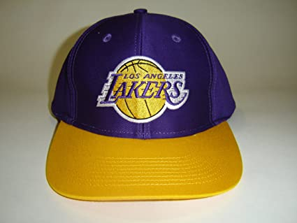 ef081b53f3256a Image Unavailable. Image not available for. Color: NBA LA Lakers Purple  Gold 2 Tone Logo Retro Snapback Cap ...